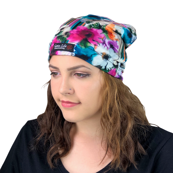 Flowers--ADJUSTABLE DRAWSTRING Satin Lined Cap