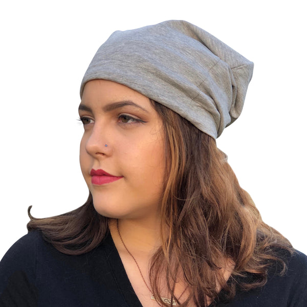 Light Gray--ADJUSTABLE DRAWSTRING     Satin Lined Cap