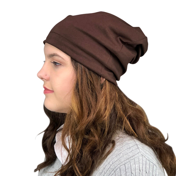 Chocolate--ADJUSTABLE DRAWSTRING Satin Lined Cap