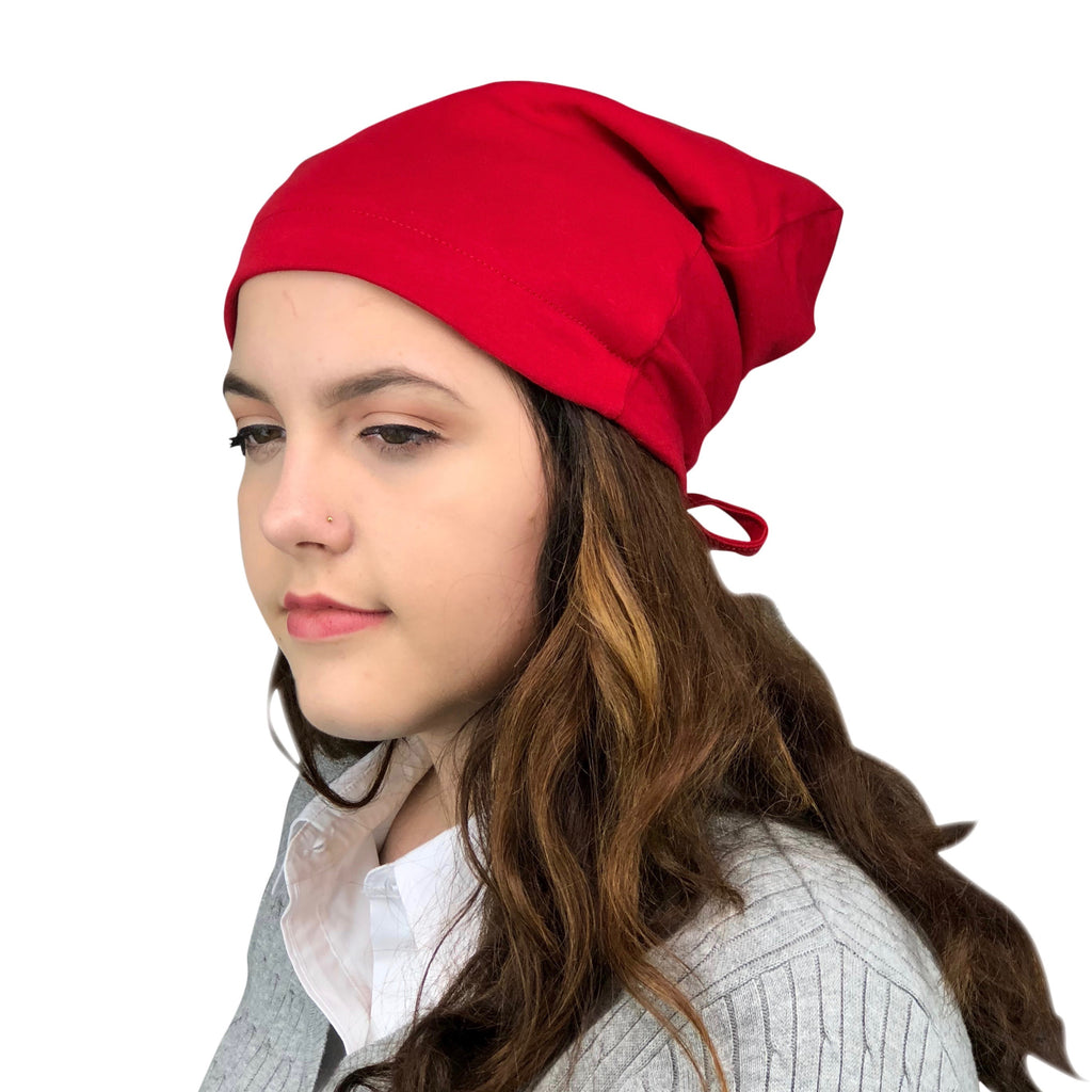 Red--ADJUSTABLE DRAWSTRING Satin Lined Cap
