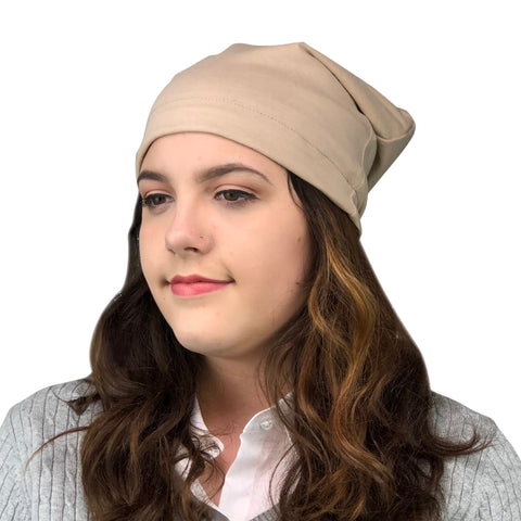 Beige--ADJUSTABLE DRAWSTRING Satin Lined Cap