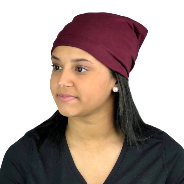 Burgundy--ADJUSTABLE DRAWSTRING Satin Lined Cap