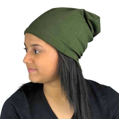 Olive Green--ADJUSTABLE DRAWSTRING Satin Lined Cap