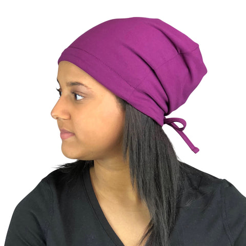 Purple--ADJUSTABLE DRAWSTRING     Satin Lined Cap