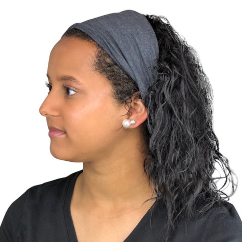 Satin Lined Headband-Heather Gray