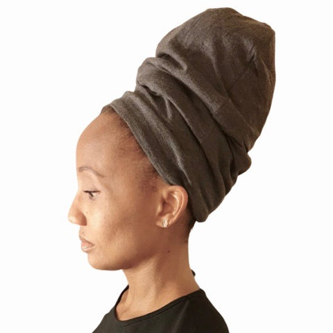 Heather Gray - XL - Extra Long--ADJUSTABLE DRAWSTRING Satin Lined Cap