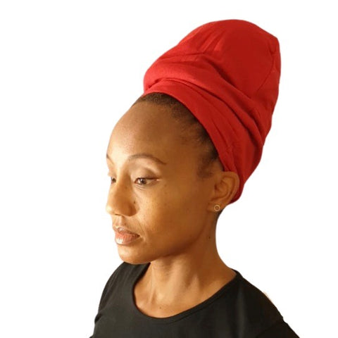 Red - XL - Extra Long--ADJUSTABLE DRAWSTRING Satin Lined Cap