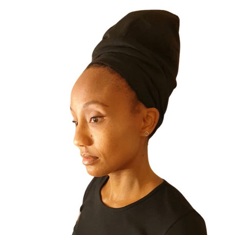 Black - XL - Extra Long--ADJUSTABLE DRAWSTRING Satin Lined Cap