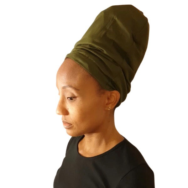 Olive Green - XL - Extra Long--ADJUSTABLE DRAWSTRING Satin Lined Cap