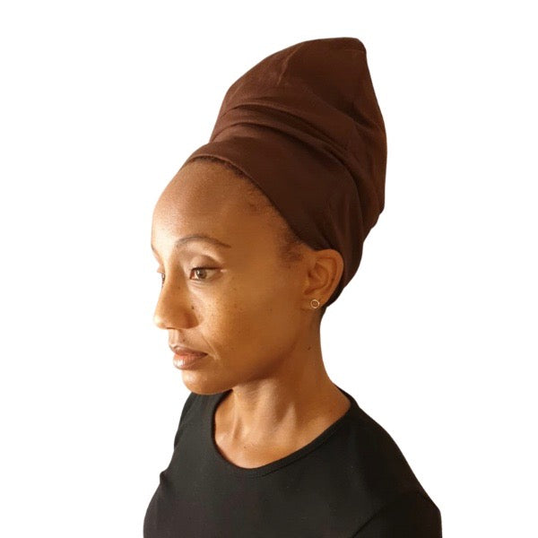 Brown - XL - Extra Long--ADJUSTABLE DRAWSTRING Satin Lined Cap