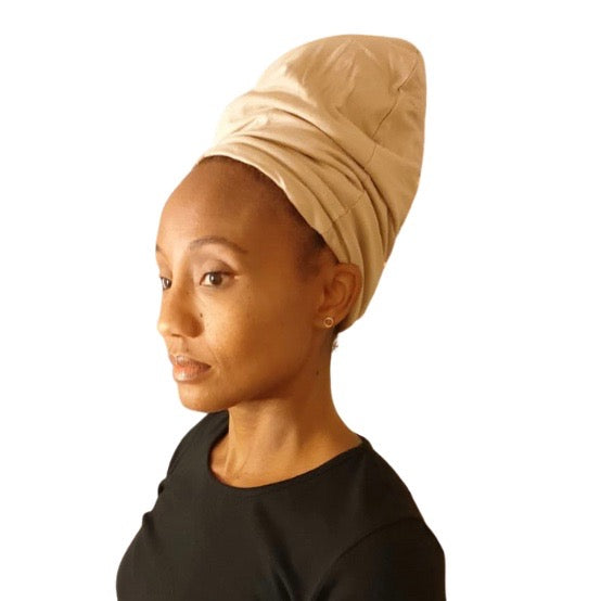 Beige - XL - Extra Long--ADJUSTABLE DRAWSTRING Satin Lined Cap