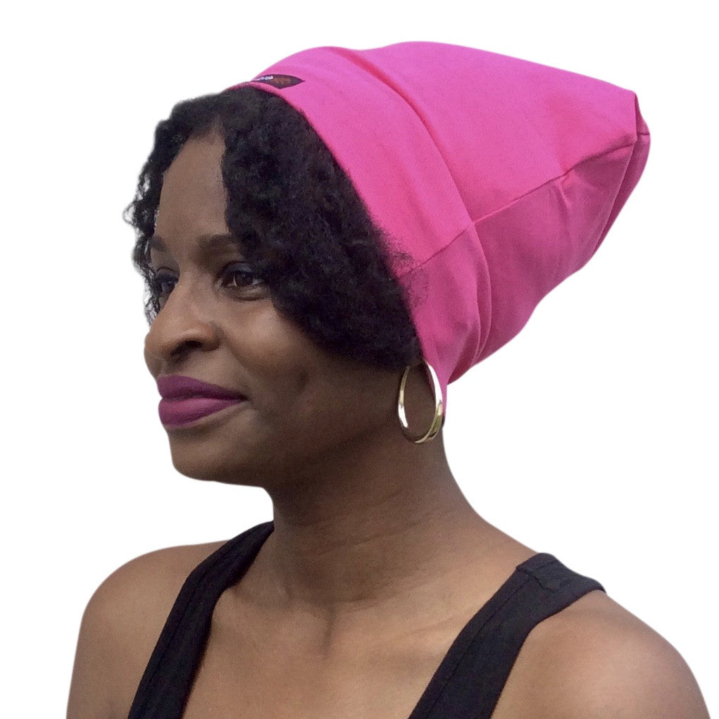 HOT Pink--ELASTIC BAND Satin Lined Cap