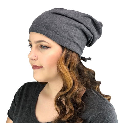 Heather Gray--ADJUSTABLE DRAWSTRING Satin Lined Cap