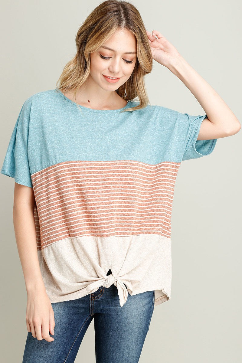 Amelia Striped Knot Tee - Orange Combo - Red and Moon