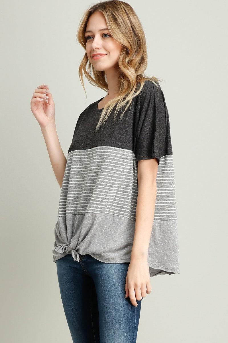 Amelia Striped Knot Tee - Gray Combo - Red and Moon
