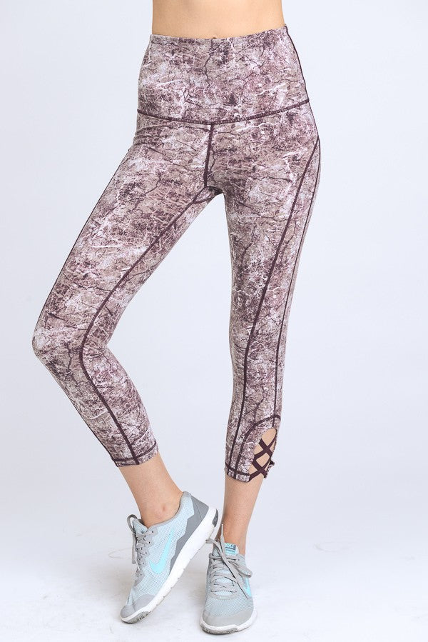 Magenta Marble Crop Leggings - Red and Moon