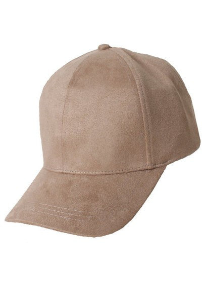 Faux Suede Baseball Cap - Red and Moon