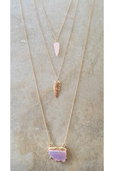 Blush Druzy Layered Necklace - Red and Moon