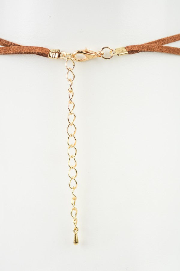 Suede Knot Choker - Red and Moon