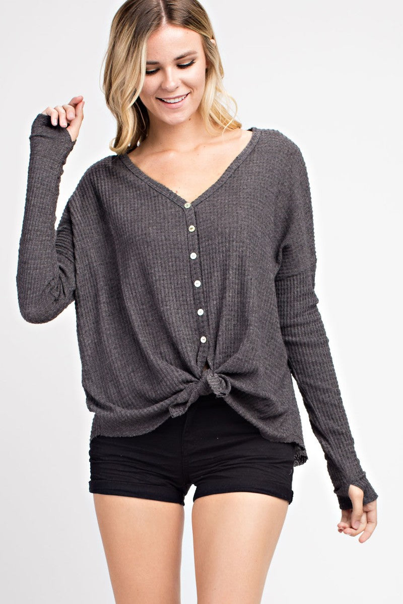 Waffle Knit Tie Top - Gray - Red and Moon