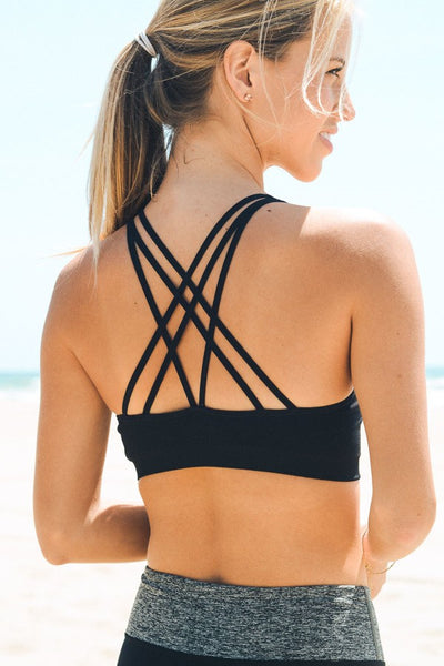 Strappy Back Sports Bra - Black - Red and Moon