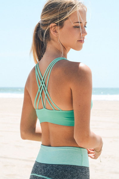 Strappy Back Sports Bra - Mint - Red and Moon
