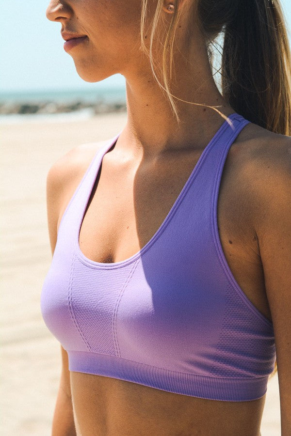 Strappy Back Sports Bra - Lavender - Red and Moon