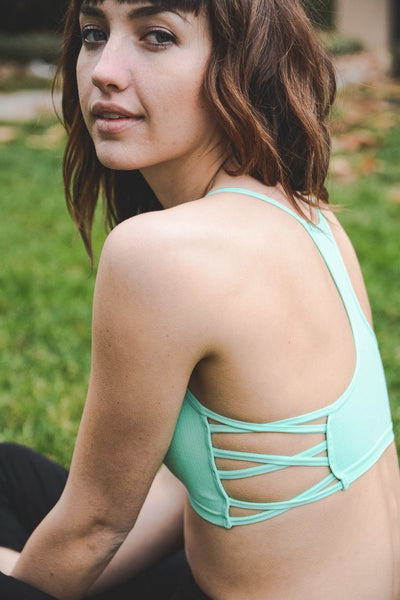Side Strappy Bralette - Mint - Red and Moon