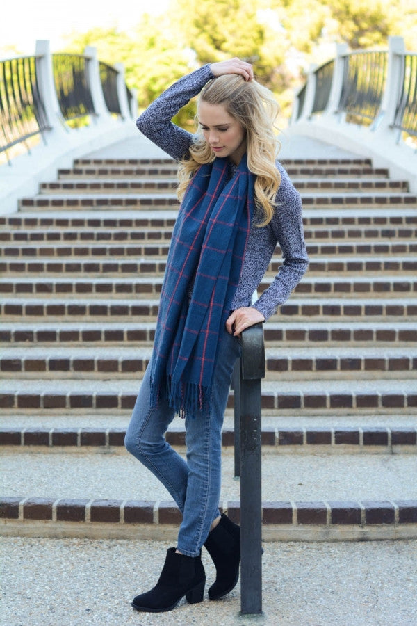 Grid Blanket Tassel Scarf - Navy - Red and Moon