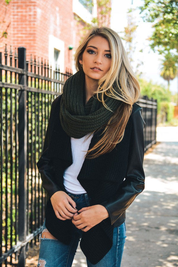 Chunky Braided Infinity Scarf - Olive