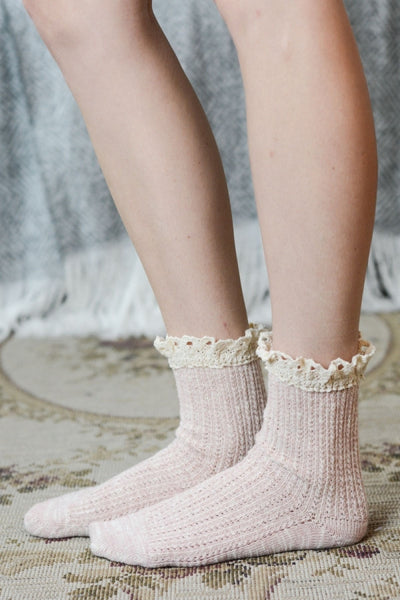 Lace Trim Socks - Red and Moon
