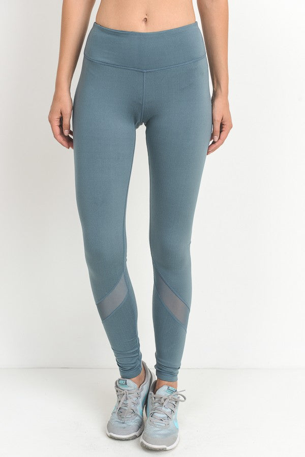 Full Length High Rise Leggings in Light Teal - Red and Moon
