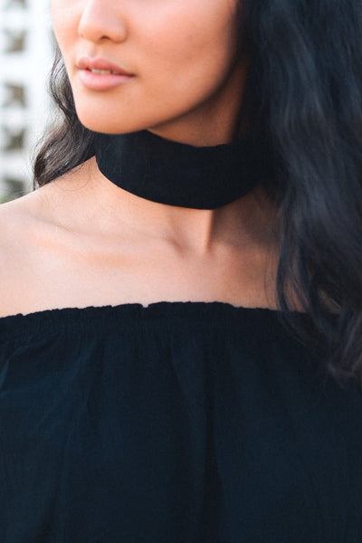 Velvet Wide Band Choker - Black - Red and Moon
