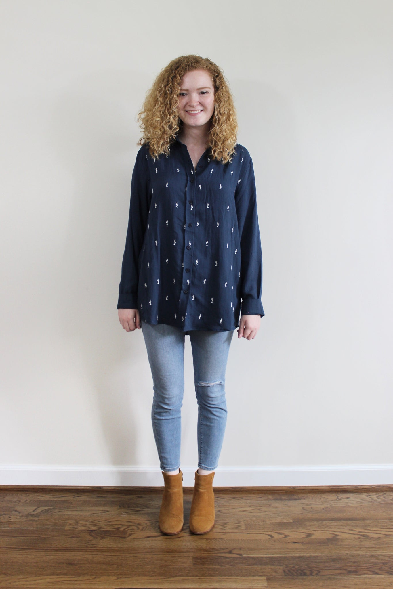 Cactus Button Down Top - Red and Moon