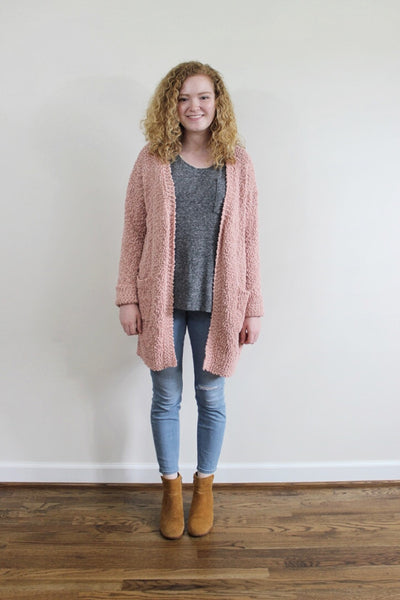Popcorn Knit Cardigan - Red and Moon