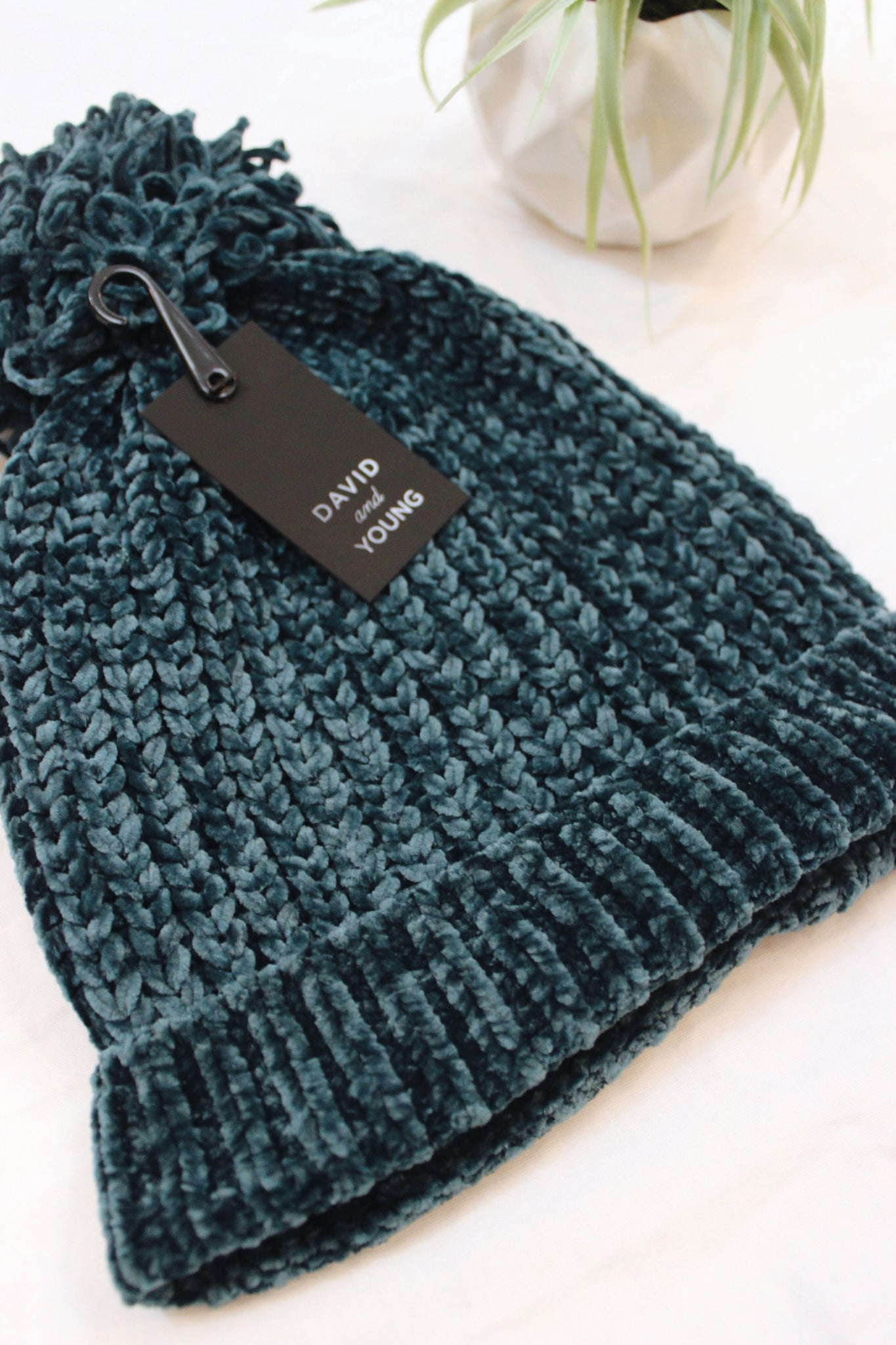 Chenille Pom Knit Beanie - Teal - Red and Moon
