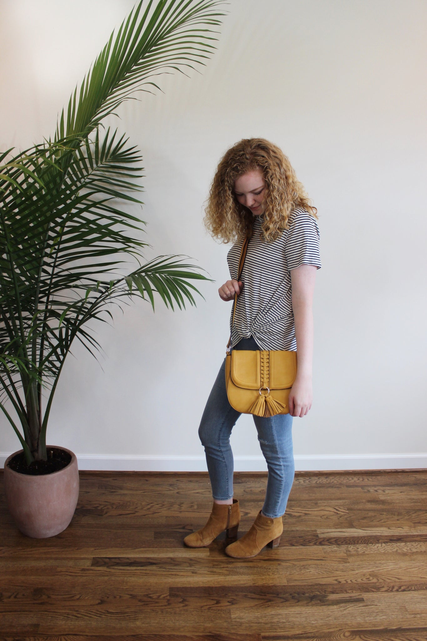 Tassel Saddle Crossbody - Mustard - Red and Moon