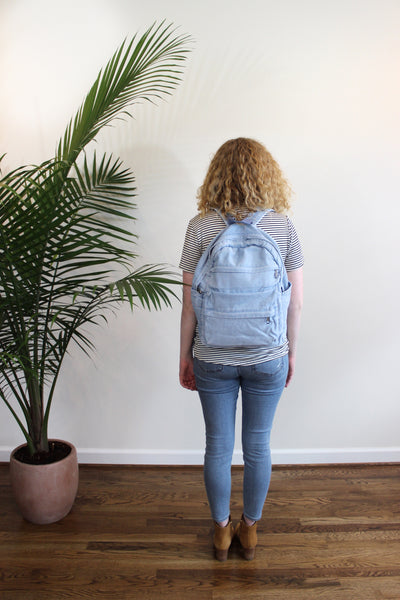 Chambray Backpack - Red and Moon