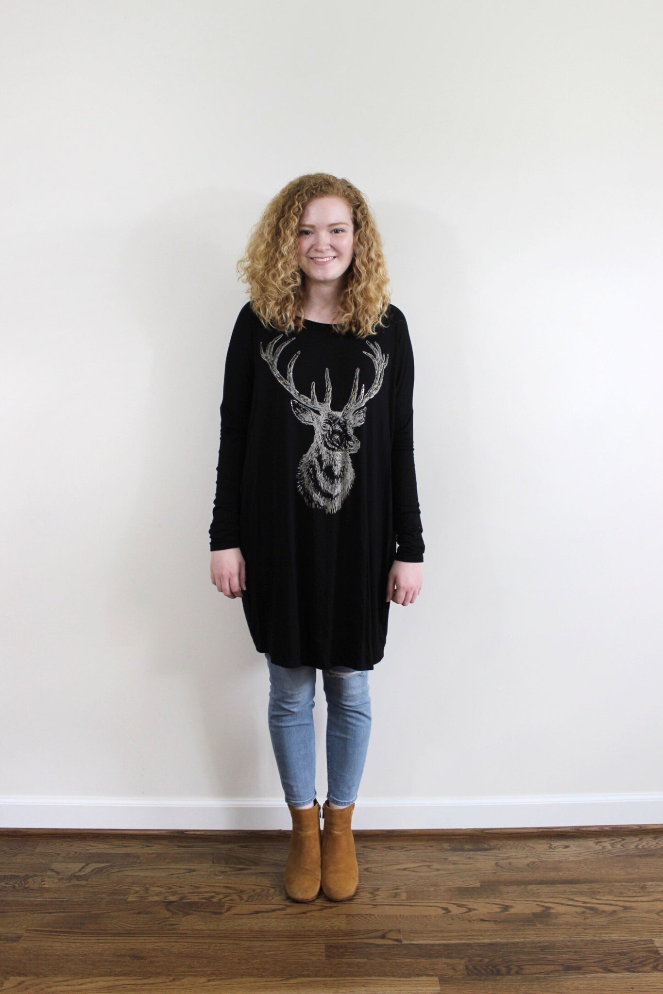 Gold Foil Deer Tunic Top