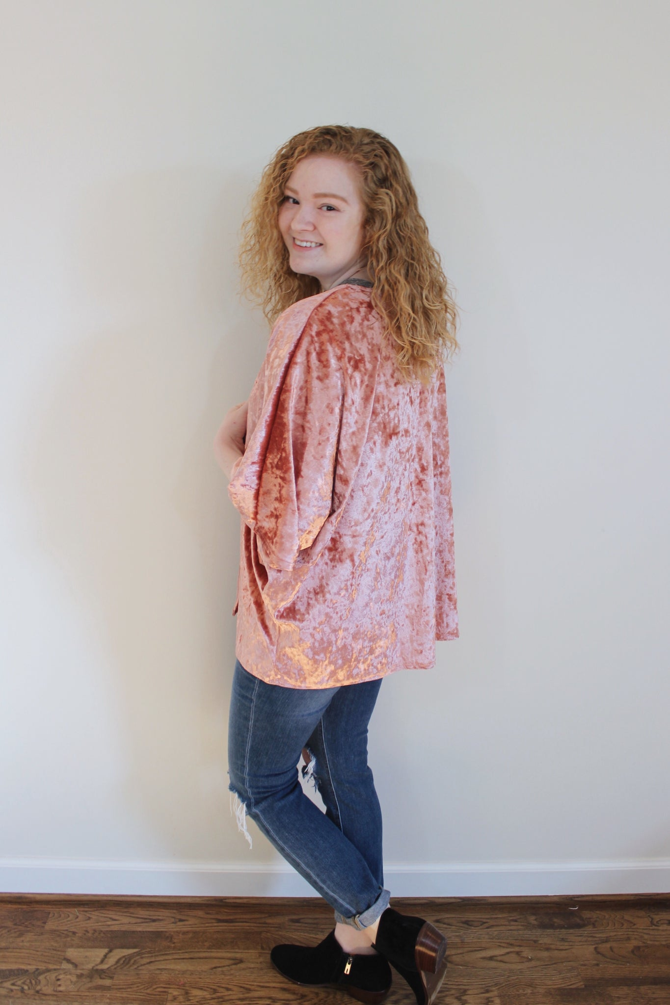Crushed Velvet Kimono - Red and Moon