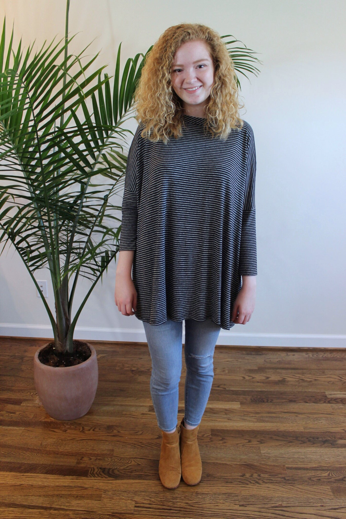 Striped Open Back Tunic Tee