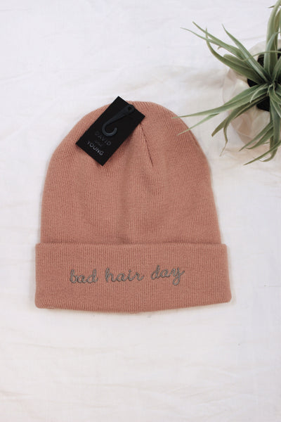 Bad Hair Day Embroidered Beanie - Pink - Red and Moon