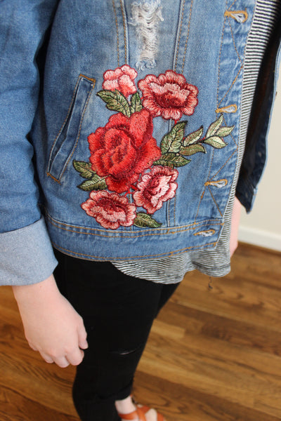 Embroidered Denim Jacket - Red and Moon