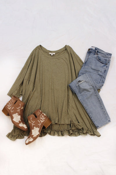 Ruffle Hem High Low Top