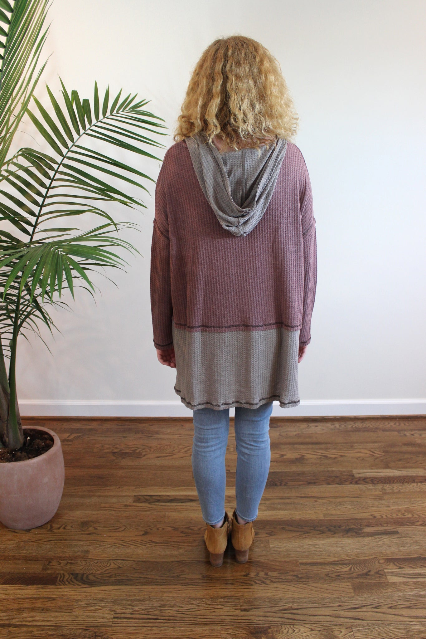 Thermal Knit Hoodie Top - Mauve/Mocha - Red and Moon
