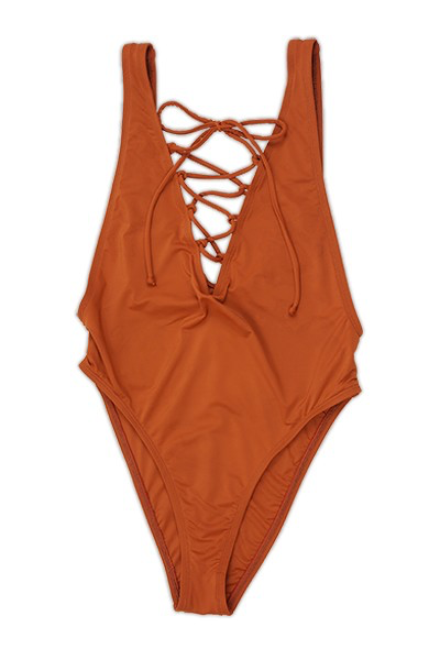 Rust High Cut Lace Up One Piece Swimsuit