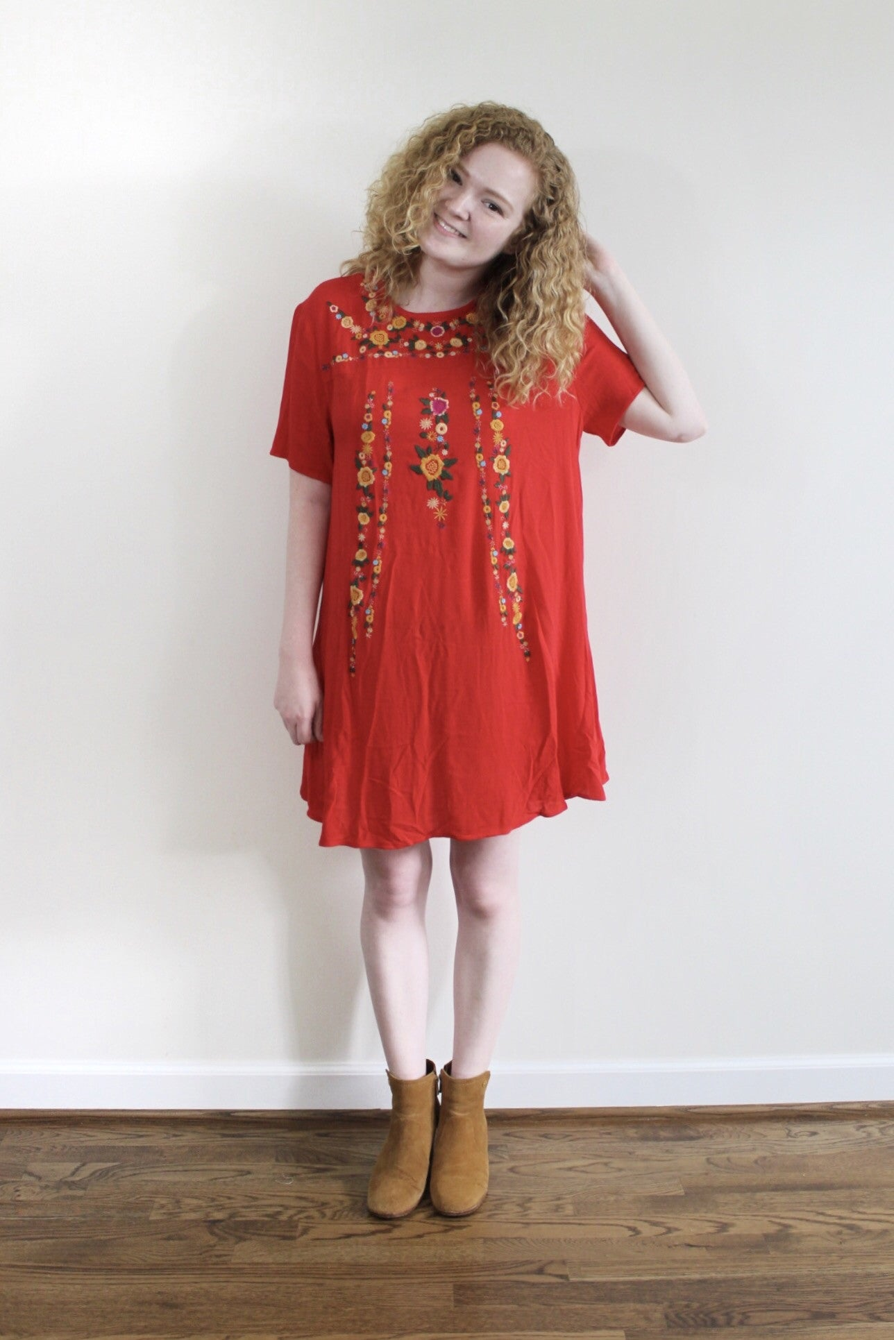 Floral Embroidered Dress - Red and Moon