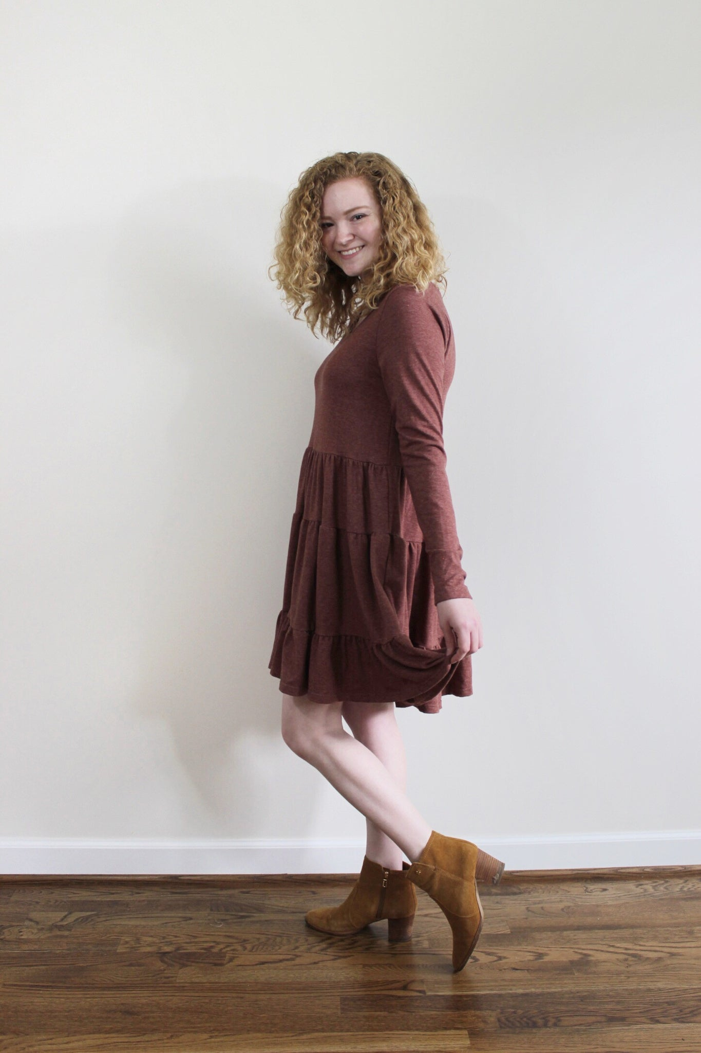 French Terry Ruffle Dress