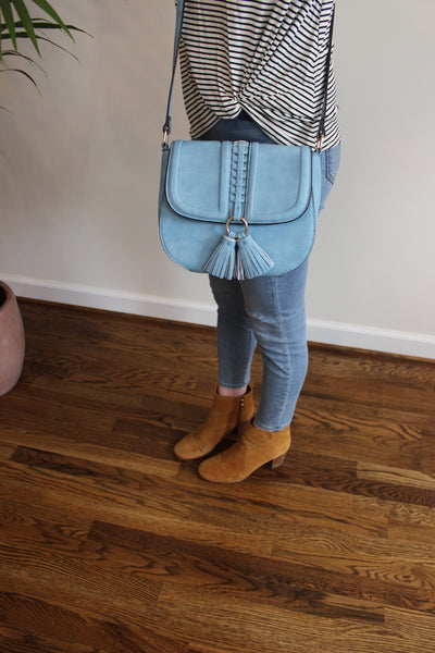 Tassel Saddle Crossbody - Blue - Red and Moon