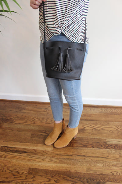 Mini Tassel Bucket Bag - Black